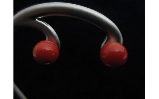 血赤珊瑚丸玉ピアスD
