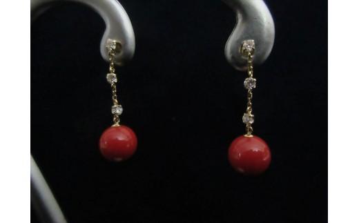 赤珊瑚玉ブラピアスA