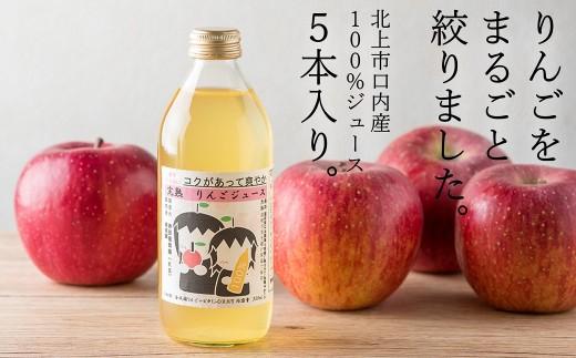 【貴重!北上市/口内産 無添加】まるごと搾っただけのリンゴジュース 5本