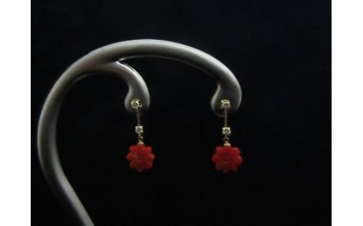 血赤珊瑚花ブラ ピアスA