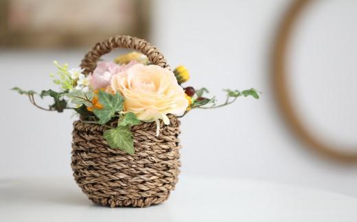 【空気をキレイにするお花】バラの花かご アートフラワー インテリアアート