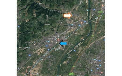 ・青矢印が被害が大きかった箇所 ・白矢印が矢島農園のある丘陵地