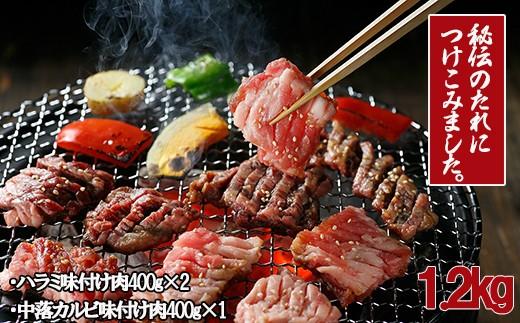MB1【秘伝ダレ】味付け牛カルビ、牛ハラミ焼肉セット1.2㎏
