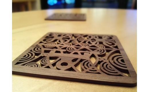 家具のまち府中で作った木製コースターです。