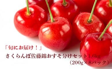 A053-NT さくらんぼ佐藤錦おすそ分けセット1.6kg(200g×8パック)