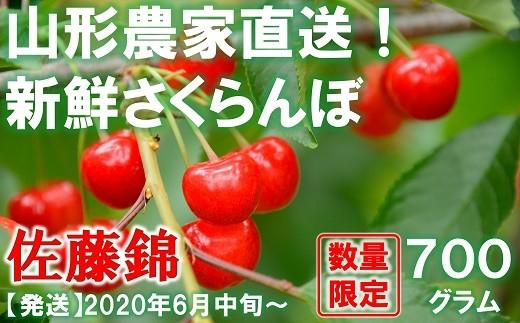 884 【令和2年6月~発送】さくらんぼ 佐藤錦 約700g(秀・L以上)