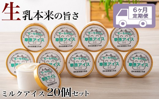 【6回定期便】酪農家のお母さんたちが作った「もーちゃんの草原アイス」20個
