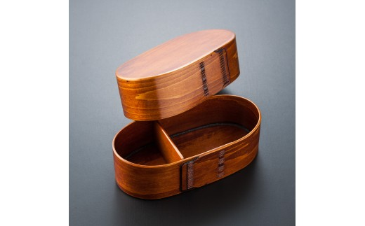 摺り漆塗り小判型弁当箱(大)