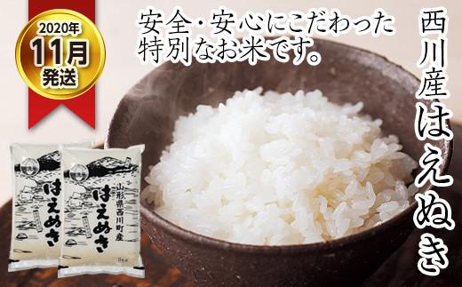 FYN9-064 【先行予約】令和2年度産 西川産 無洗米 はえぬき10kg(2020年11月発送)