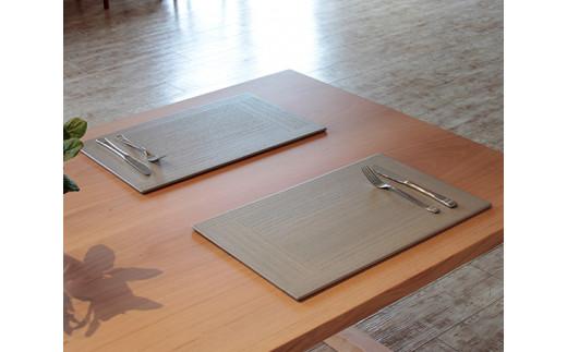 No.185 【グレー2枚組】KIRI Place Mat / ランチョンマット プレースマット 敷物 木製 桐 天然木 新潟県