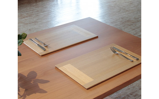 No.183 【クリア2枚組】KIRI Place Mat / ランチョンマット プレースマット 敷物 木製 桐 天然木 新潟県
