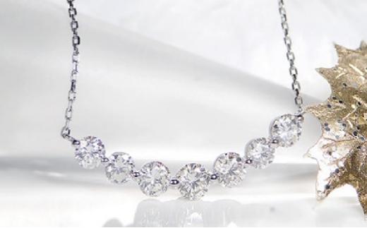 [№5760-0359]プラチナ 1.00ct ラインダイヤモンド ネックレス