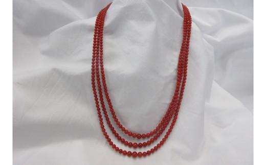 赤玉3連ネックレス