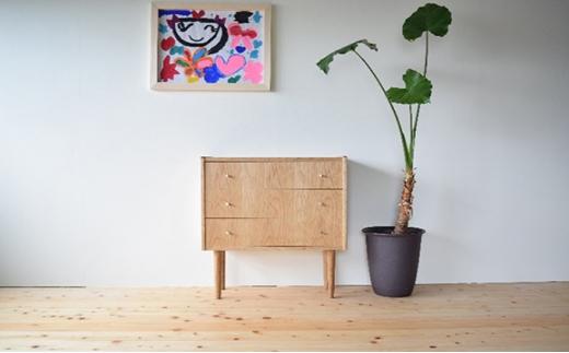[№5728-0231]家具職人が作った かわいい おしゃれな 木製 3段チェスト(茶)