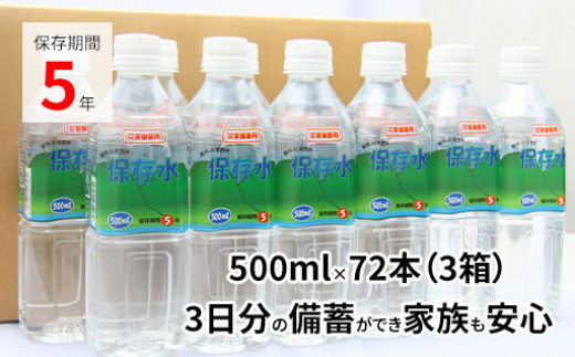 5年保存水 500ml×72本(36L/3箱)4人家族で3日分の備蓄量