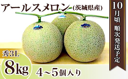 12-3茨城県産アールスメロン【秀3L】8kg(4~5個)