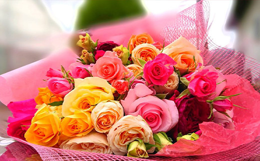 「アトリエ天使のバラ」の最高級花束Mサイズ(おまかせMIX)<17-A0131>