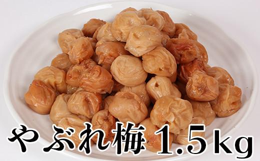 【ワケあり・やぶれ梅】ひらそ農園の完熟南高梅の梅干し 1.5kg(塩分約13%)<04-A0005>