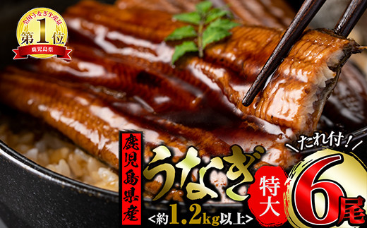 【45355】うなぎ生産量日本一の鹿児島県!東串良町のうなぎ蒲焼特大(200g~230g×6尾)<計1.2kg以上>【牧原養鰻】