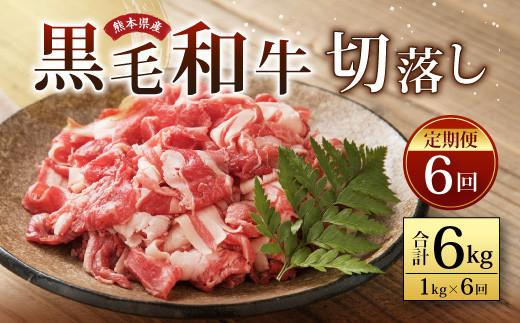 【定期便6回】熊本県産 黒毛和牛 切り落し 1,000g(1kg)牛肉
