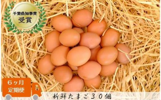 AN004 【毎月定期便6回】美味しい産みたて朝採りたまご (手集卵)新鮮たまご『ミネラル エッグ』30個×6回