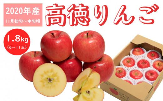 【先行受付】高徳りんご(なかなか市場に出回らない)_R2年産_1.8kg_11月初旬頃からお届け