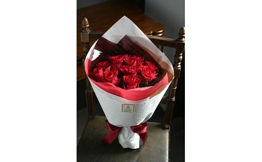 【生花花束】12本の赤いバラの花束(ダズンローズ)