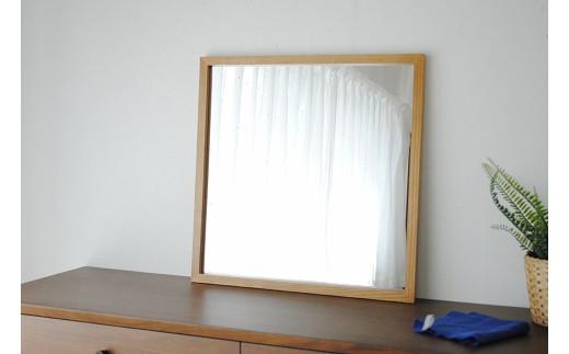 【ふるさと納税限定】ホワイトアッシュ木枠正方形姿見 インテリアミラー(選べる2色カラバリ展開)