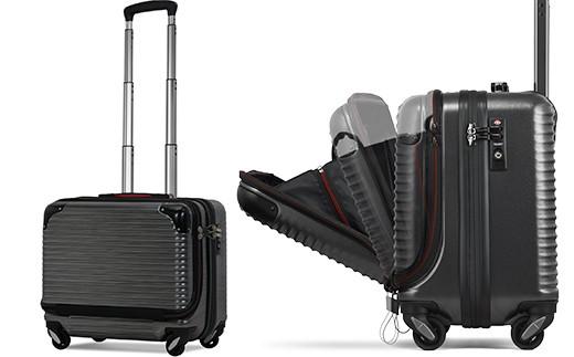 02-AV-3619・[PROEVO-AVANT] 横型フロントオープン スーツケース 機内持ち込み対応 S(スクラッチ/ガンメタリック)