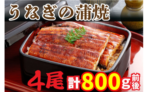AU-044 【当店オリジナル味付け】鹿児島県産・鰻の蒲焼2尾(約200g×4尾)