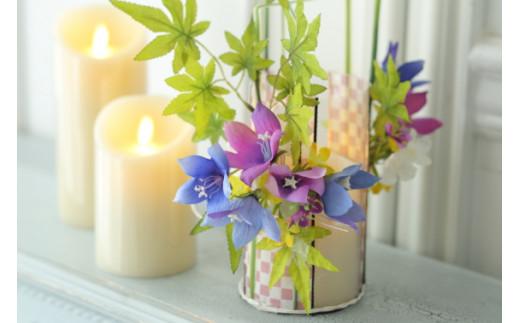 【空気をキレイにするお花】和風モダンとクラシック フラワーキャンドルアレンジ
