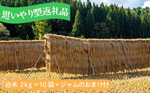【思いやり型】お米20kg あきたこまち「大野集落の米」2kg×10袋