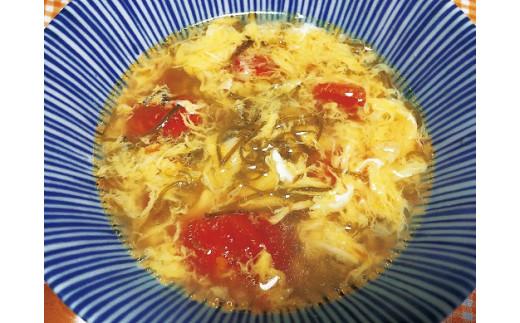 調理例6 パリパリめかぶのかきたま風スープ