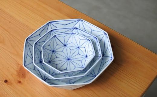 瀬戸染付焼 麻の葉 三つ組鉢