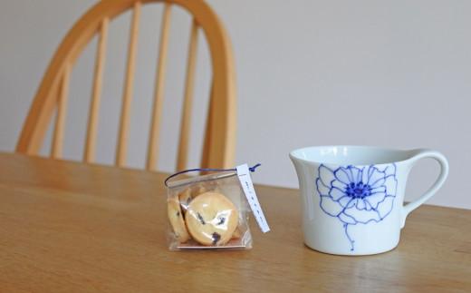 マグカップセット アネモネ( 瀬戸染付焼カップとクッキー)