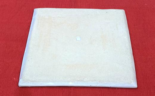 赤土呉須葡萄絵7寸角皿