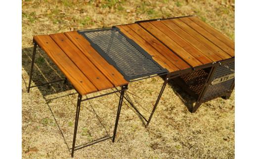 1138 【ネイチャートーンズ】ユニットテーブル/メッシュプレート Lサイズ(ダークブラウン)〘オプション:サイドアップボックス&テーブル〙[キャンプ用品・キャンプテーブル]