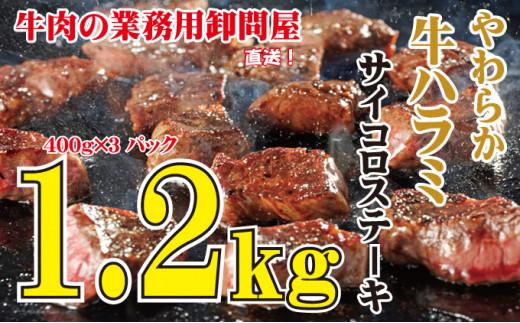 [№5624-0557]やわらか牛ハラミ サイコロステーキ 1.2kg
