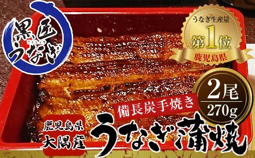767-1 備長炭手焼(鹿児島県大隅産)黒匠うなぎの蒲焼2尾セット