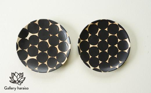 【沖縄のかわいい器】陶factory509モノクロ皿 ペア/黒丸