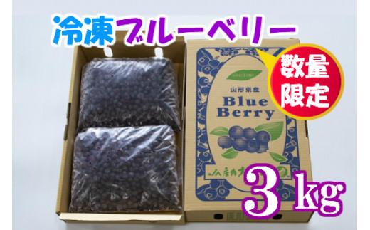 【新型コロナ被害支援】【数量限定】鶴岡産冷凍ブルーベリー 3kg(1.5kg×2袋)