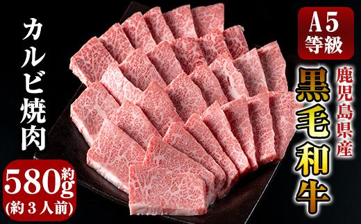 C-014 鹿児島県産黒毛和牛<A5等級>きりしま畜産厳選!黒毛和牛カルビ焼肉用約580g!牛肉の中でも最高ランクを焼き肉用バラ肉約3人前冷凍でお届け【きりしま畜産】