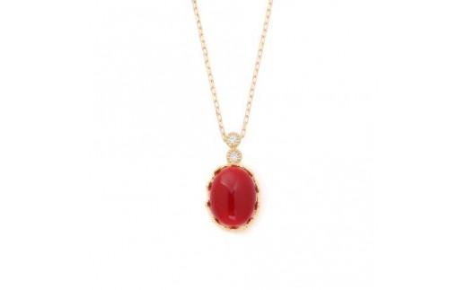 宝飾の町甲府から!!K18 日本産血赤珊瑚王冠クラシカルネックレス