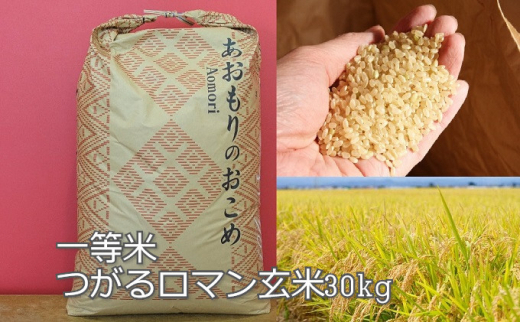 一等米 青森県産つがるロマン玄米30kg[№5898-0420]