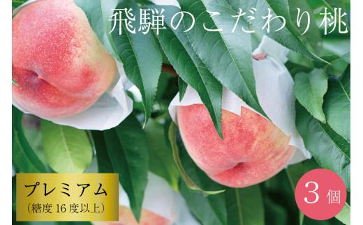 飛騨のこだわり桃 プレミアム 糖度16度以上 3玉 朝採れ 白桃 ※7月末~順次お届け[Q122]