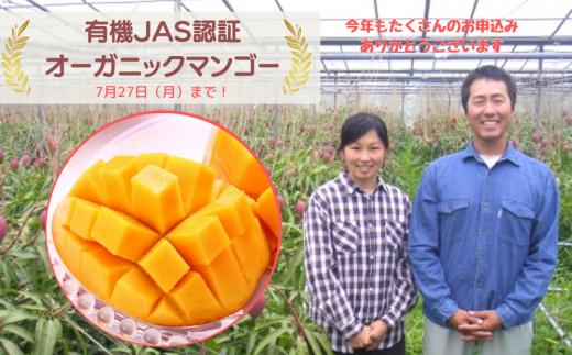 《来年予約分》【有機JAS認証】オーガニック・有機マンゴー1kg 2〜3⽟【2021年7月発送】
