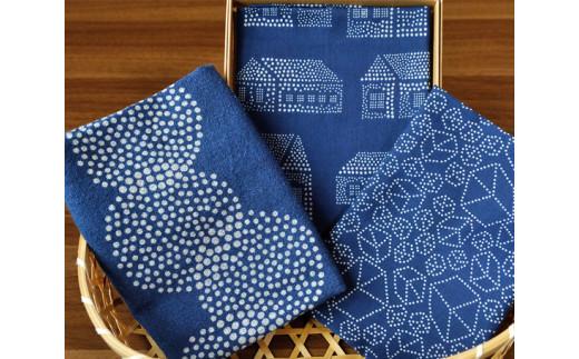 No.051 藍染×型染ハンカチ2枚+藍染×型染手拭い1枚セット / 工芸品 手ぬぐい 日本製生地 埼玉県 特産品
