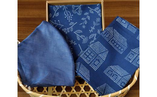 No.048 藍染×型染ハンカチ2枚+藍染立体マスクセット / 工芸品 日本製生地 埼玉県 特産品