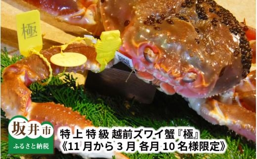 [R-1602] 特 上 特 級 越前ズワイ蟹 『極』 《11月から3月 各月10名様限定》