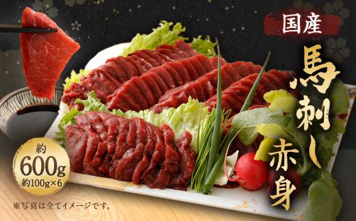 国産 馬刺し 赤身 計 約 600g ( 約 100g × 6パック ) タレ付き 馬肉